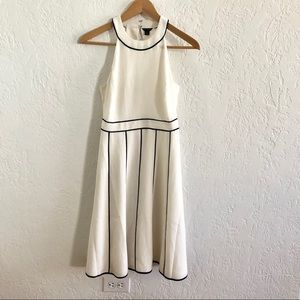 Ann Taylor Halter Neck Dress Cream / Navy Piping 0